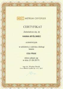 Certyfikat szkolenie zzakresu obsługi lasera CO2 Frax