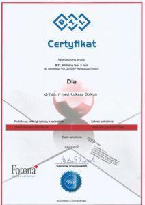 Certyfikat BTL Polska Sp. z.o.o.