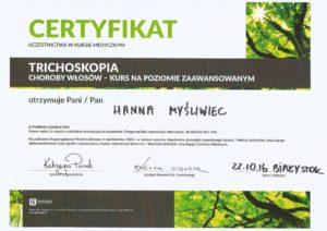 Certyfikat Trichoskopia