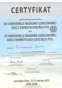 Certyfikat - dermatologia dziecieca