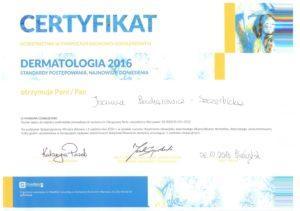 Certfikat Dermatologia 2016