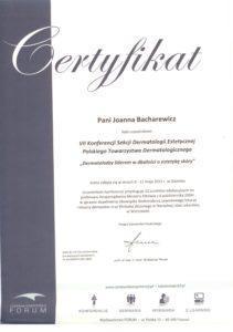 Certyfikat uczestnictwa wkonferencji sekcji demtatologii estetycznej