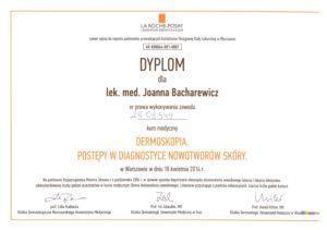 Dyplom - postępy wdiagnostyce nowotworów skóry