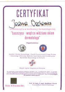 Certyfikat - Łuszczyca