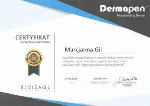 Certyfikat - obsługa iwykonanie zabiegów