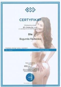 Certyfikat - obsługa aparatu BTL Unison