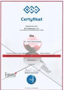 Certyfikat BTL Polska z.o.o.