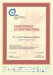 Certyfikat uczestnictwa - specjalista chirurgi dziecięcej