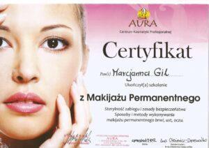 Certyfikat zmakijażu permanentnego