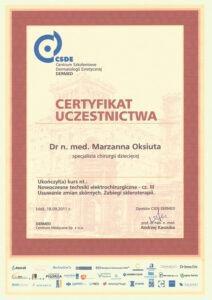 Certyfikat uczestnictwa - specjalista chirurgi dziecięcej - III