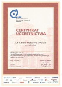 Certyfikat uczestnictwa - specjalista chirurgi dziecięcej - I