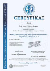 Certyfikat - lifting bezoperacyjny