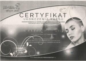 Certyfikat - mikropigmentacja skóry głowy
