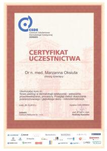 Certyfikat uczestnictwa - chirurg dziecięcy