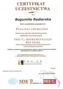 Certyfikat - peelingi chemiczne
