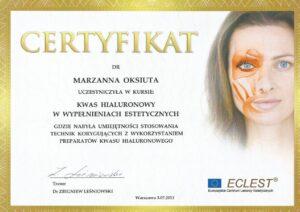 Certyfikat - kwas hiauronowy wwypełnieniach estetycznych