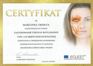 Certyfikat - zastosowanie toksyny botulinowej