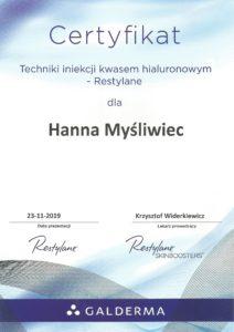 Certyifikat - iniekcja kwasem hialuronowym