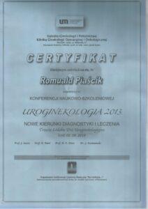 Certyfikat - uroginekologia 2013