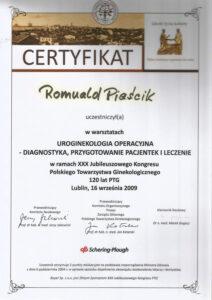 Certyfikat - uroginekologia operacyjna