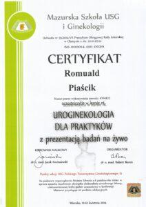 Certyfikat - szkoła USG iGinekologii